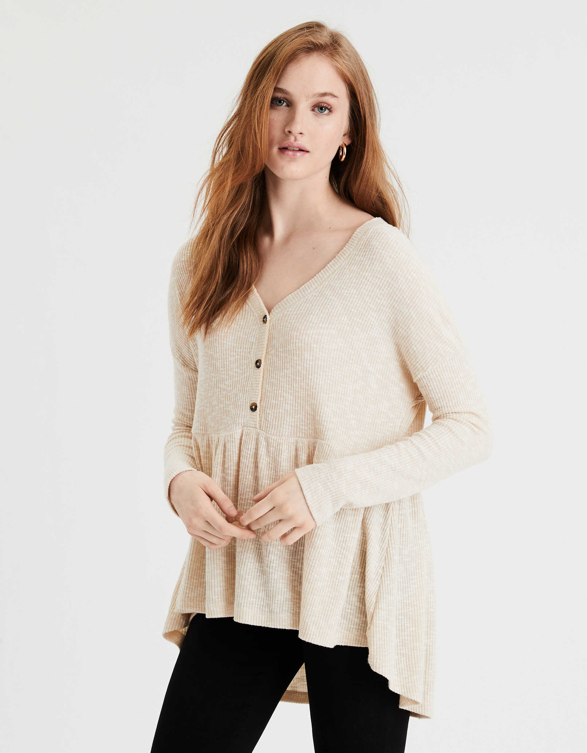 AE Plush Long Sleeve Peplum T-Shirt