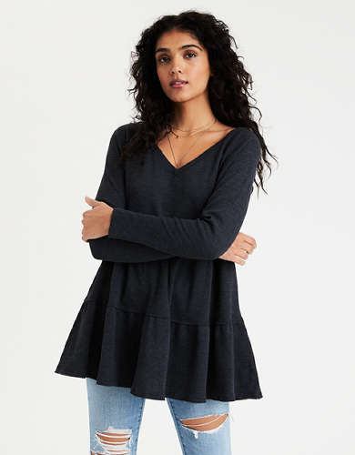 AE Tiered V-Neck Tunic T-Shirt