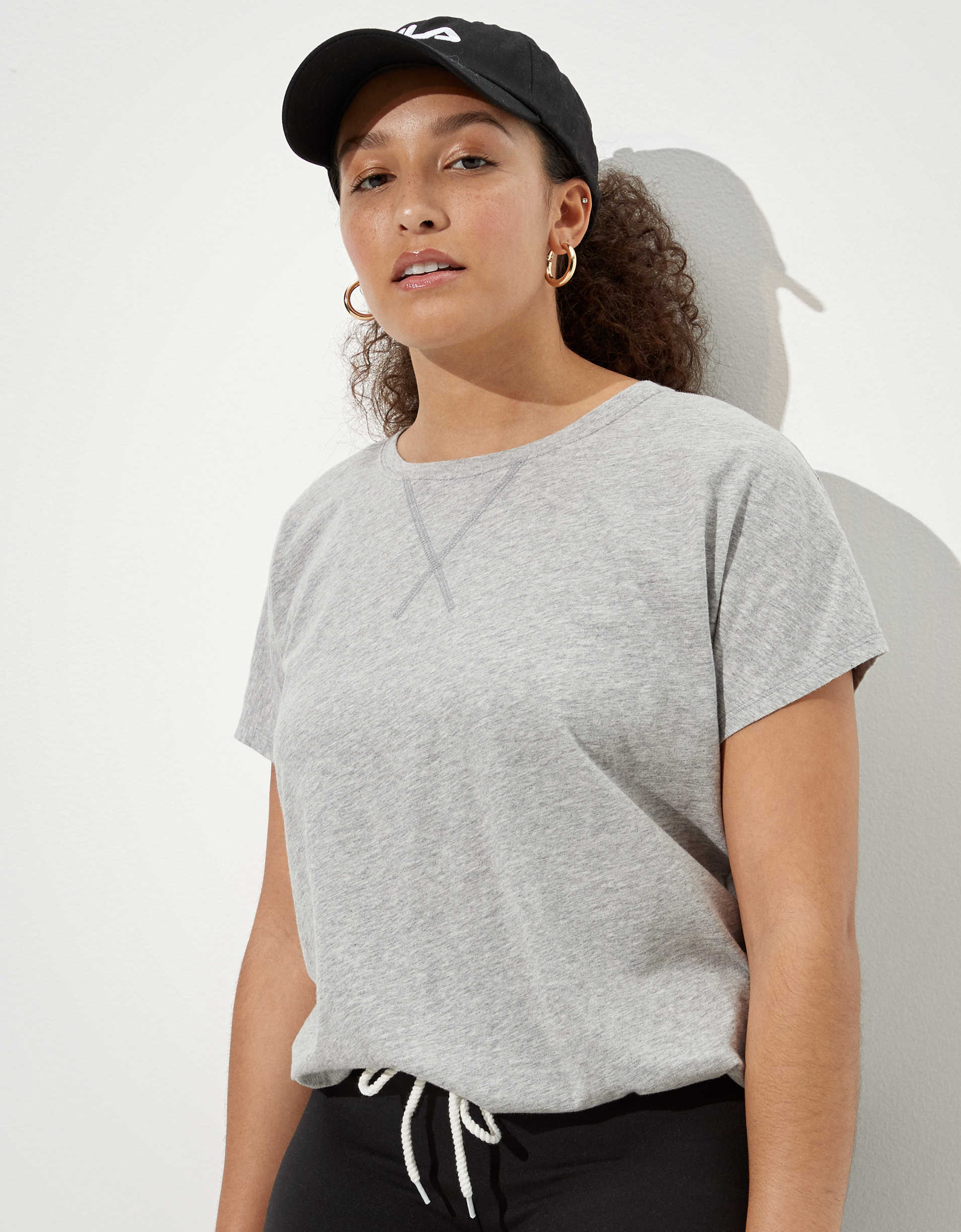 AE Cinched Front Crew Neck T-Shirt