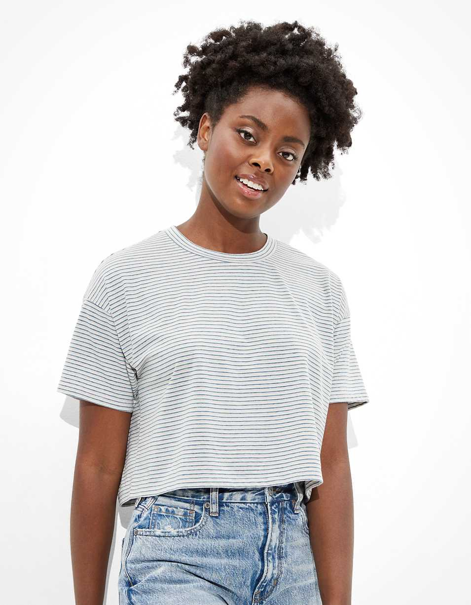 AE Cropped Boxy Crew Neck T-Shirt