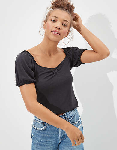 AE Cropped Puff Sleeve T-Shirt