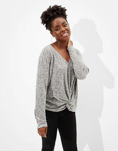 AE Plush Long Sleeve Twist Front T-Shirt