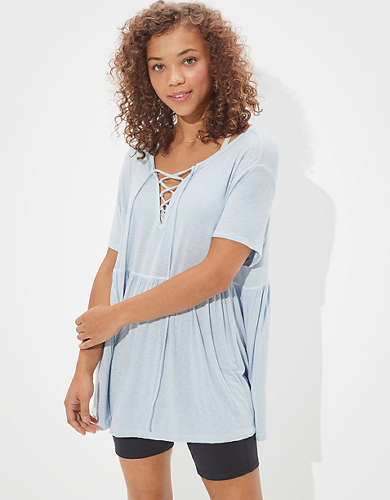 AE Lace Up Babydoll T-Shirt