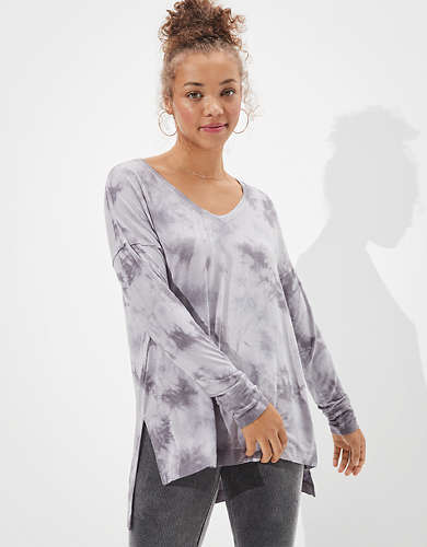 AE Soft & Sexy Long Sleeve V-Neck Tunic T-Shirt
