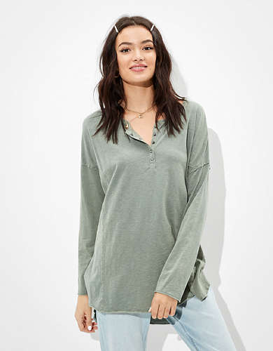 AE Oversized Long Sleeve Henley T-Shirt