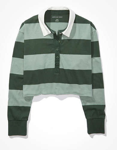 AE Striped Long-Sleeve Rugby Polo T-Shirt