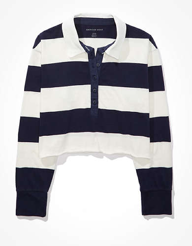 AE Cropped  Long-Sleeve Rugby Polo T-Shirt