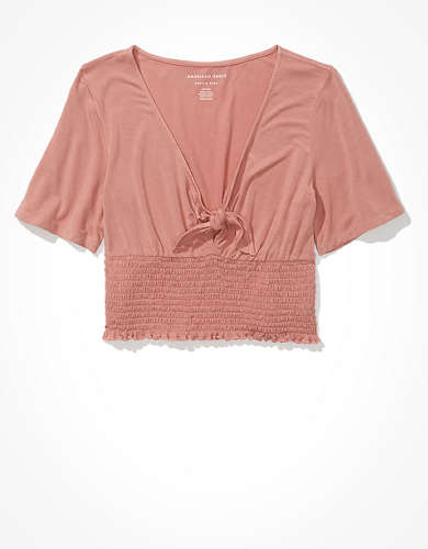 AE Smocked Tie-Front T-Shirt