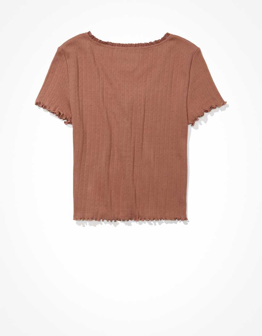 AE Lace Henley Baby Tee