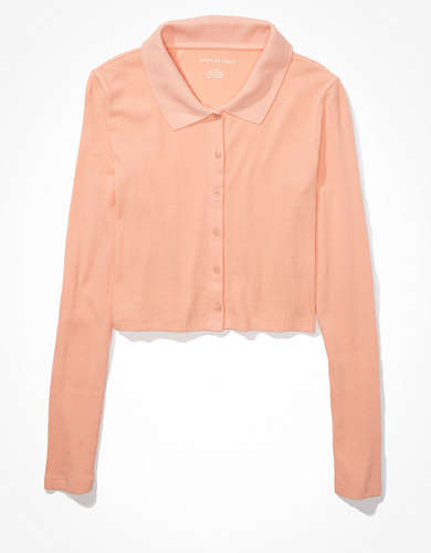 AE Cropped Long-Sleeve Button-Up T-Shirt