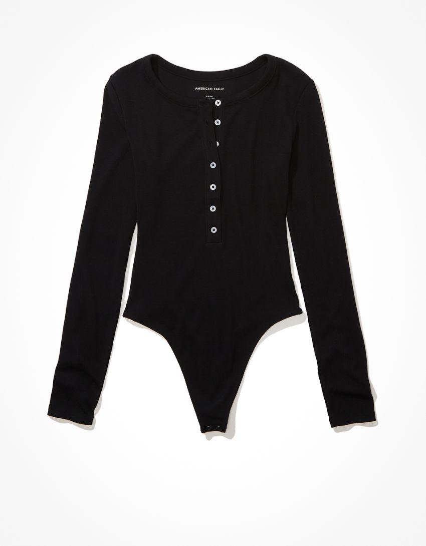AE Long-Sleeve Henley Bodysuit