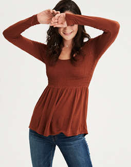 Ae Smocked Long Sleeve Peplum Top by American Eagle Outfitters