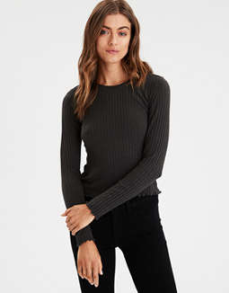 Ae Long Sleeve Ribbed Tee by American Eagle Outfitters