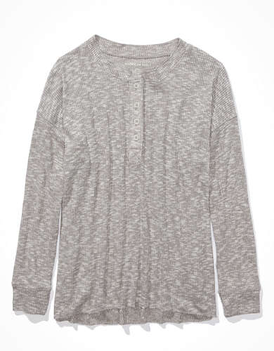 AE Plush Long Sleeve Henley T-Shirt
