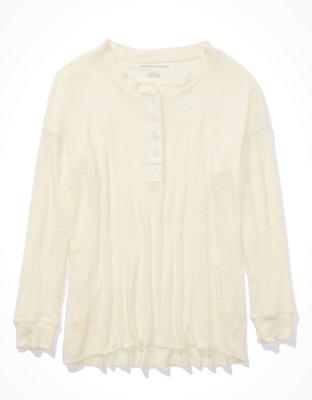 AE Soft & Sexy Plush Long-Sleeve Henley T-Shirt