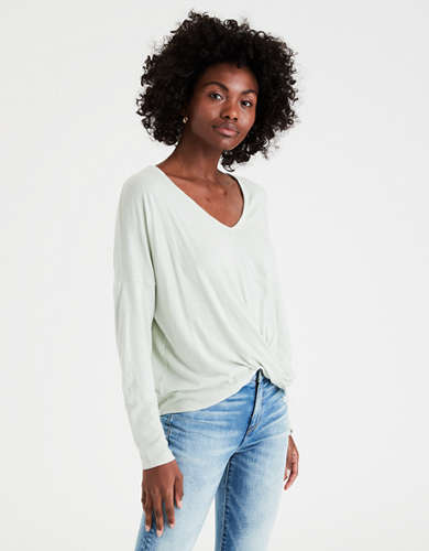 AE Long Sleeve Twist Front T-Shirt
