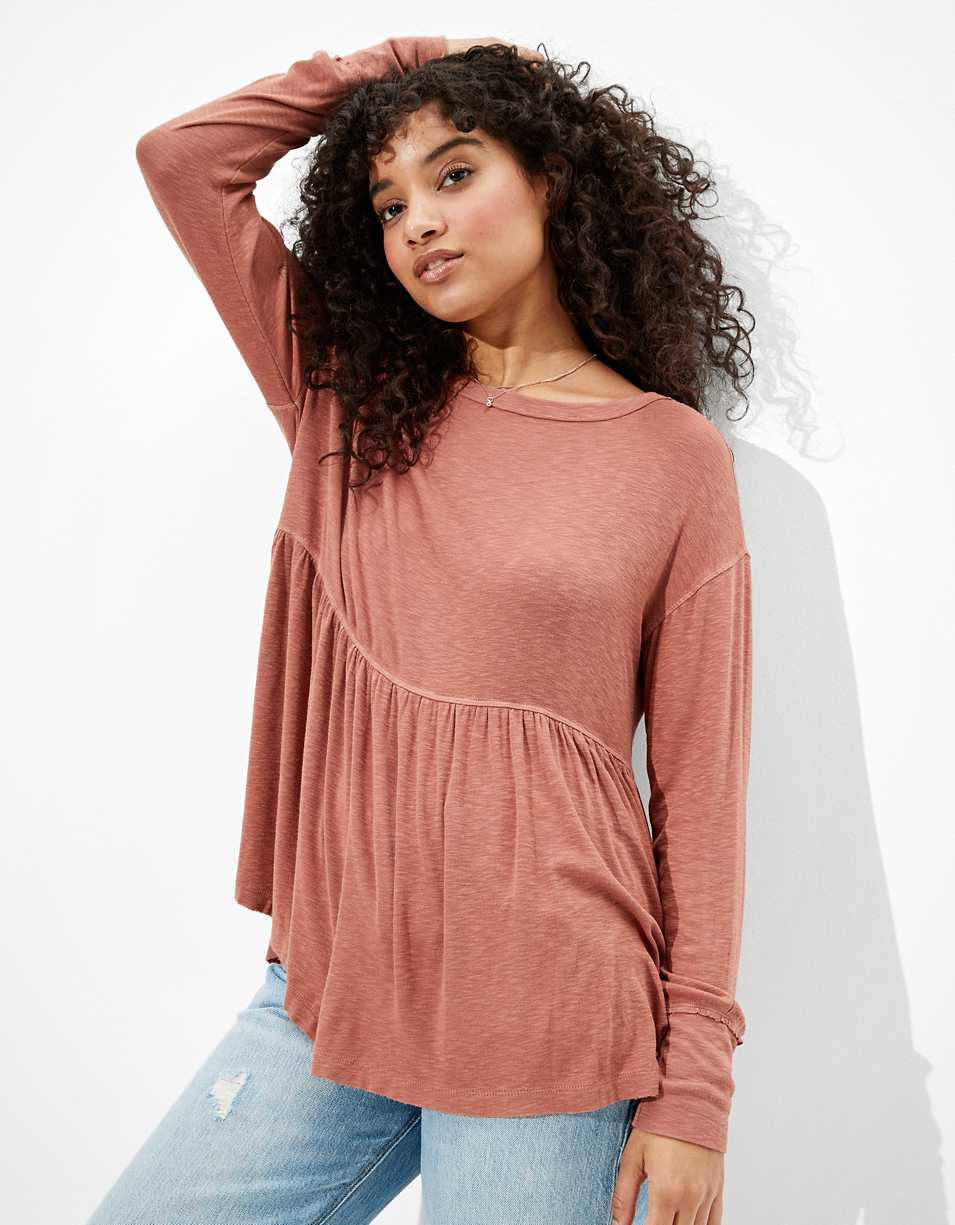 AE Soft & Sexy Long-Sleeve Babydoll T-Shirt