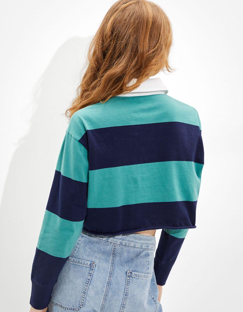 AE Cropped Striped Long-Sleeve Polo Shirt