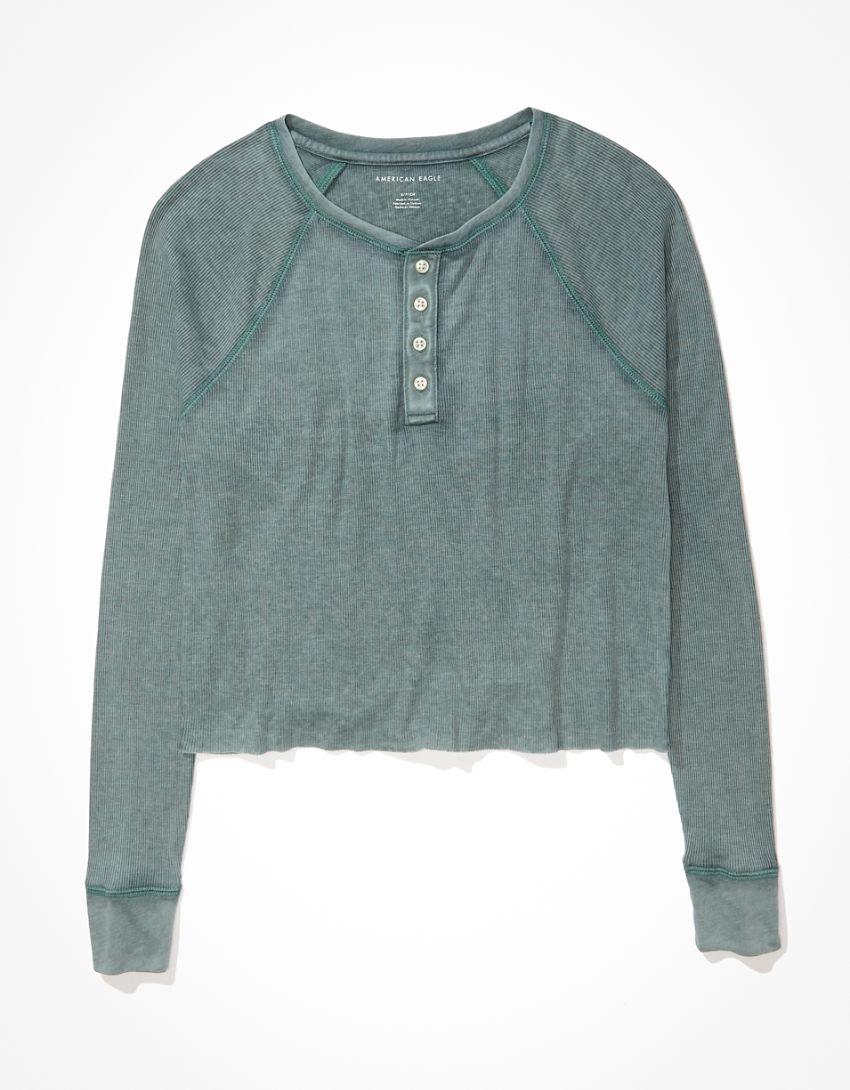 AE Long-Sleeve Henley T-Shirt