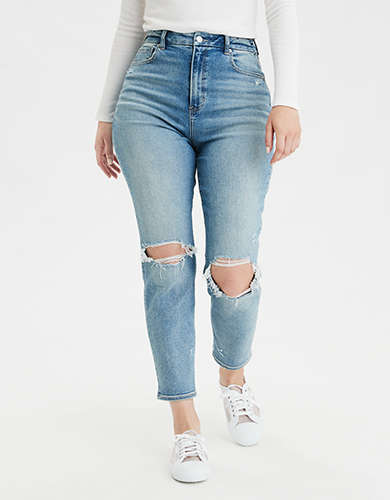 AE Stretch Ripped Curvy Mom Jean