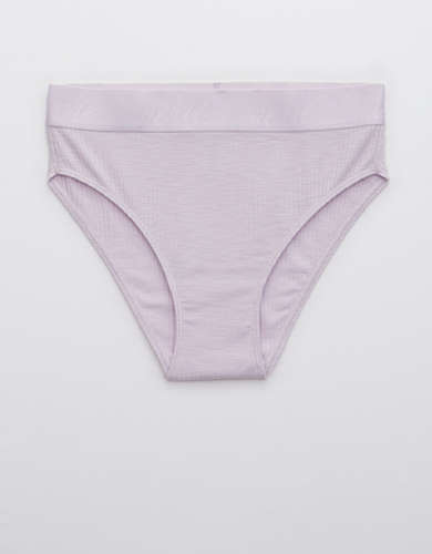 Aerie Ribbed Logo High Waisted Bikini Underwear