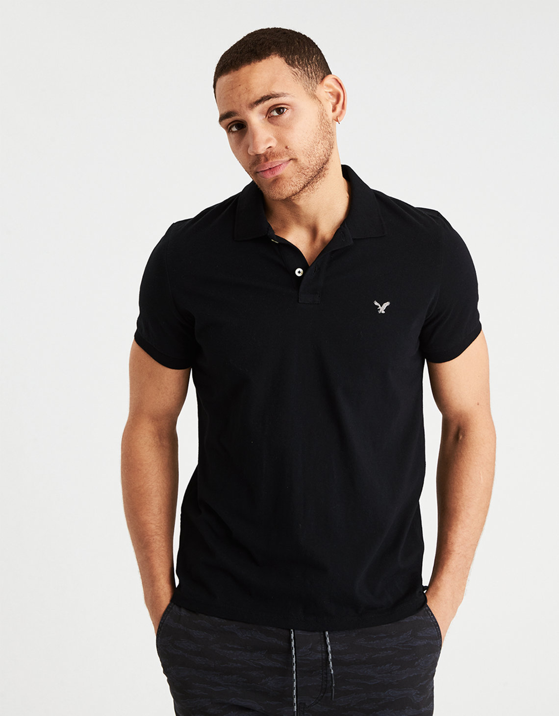AEO Solid Jersey Polo Shirt. Placeholder image. Product Image