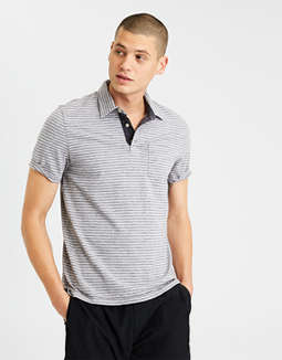 Ae Jersey Striped Polo by American Eagle Outfitters
