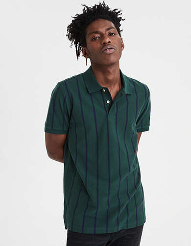 AE Striped Pique Polo