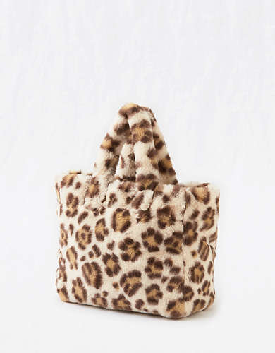 Aerie Fuzzy Leopard Mini Bag