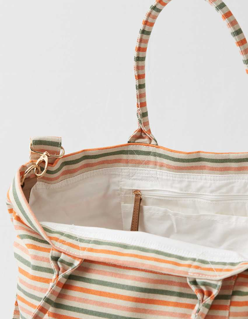 Aerie Canvas Striped Tote Bag