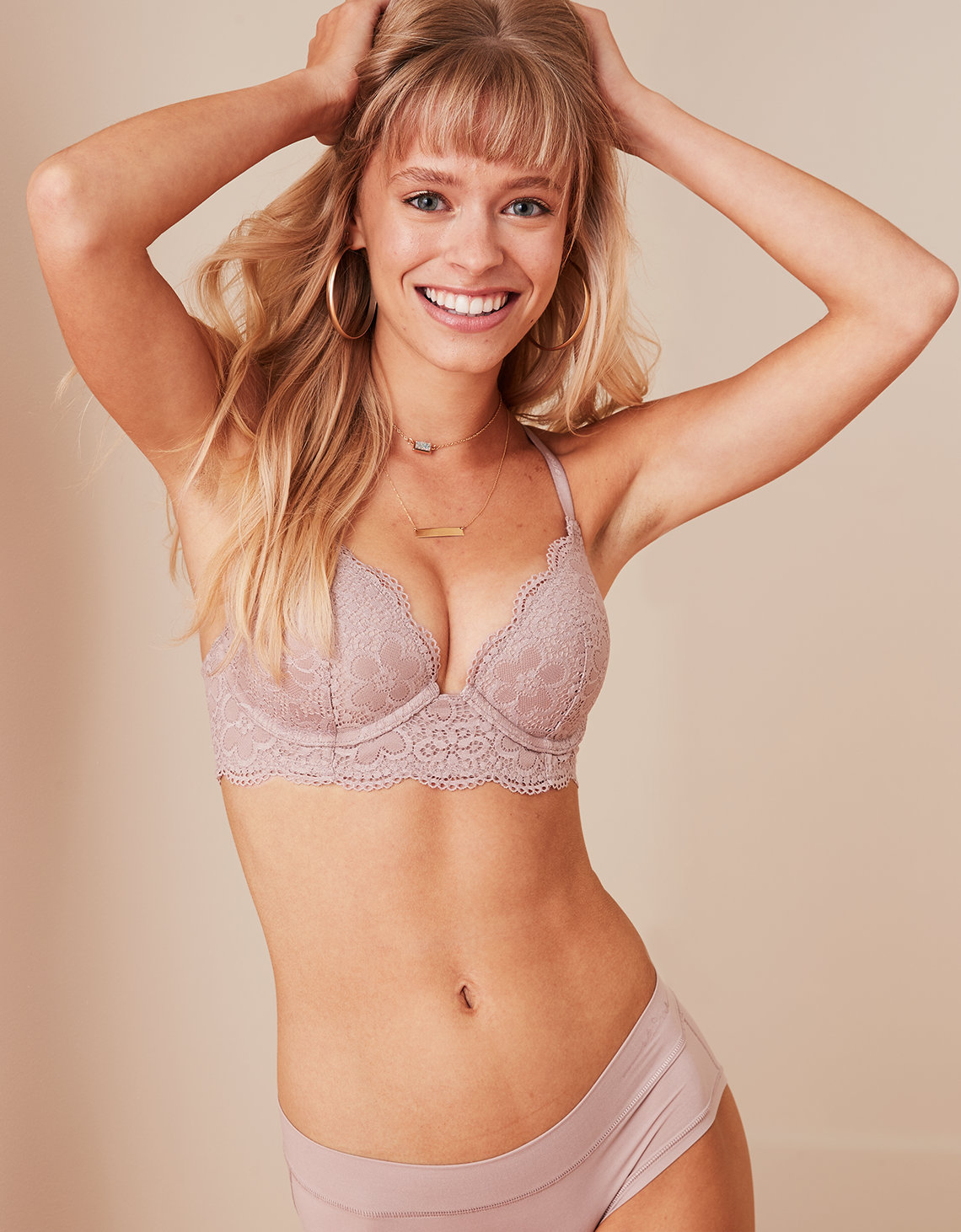 Aerie Real Happy Plunge Push Up Bra | Tuggl