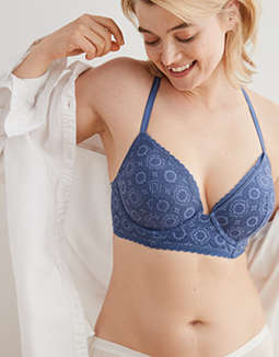 Aerie Real Happy Plunge Push Up Bra