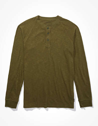 AE Super Soft Long Sleeve Henley T-Shirt