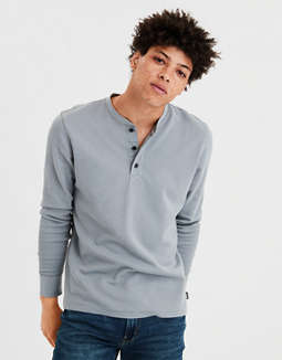 T Shirt Térmica Con Cuello Henley Supersuave Ae by American Eagle Outfitters