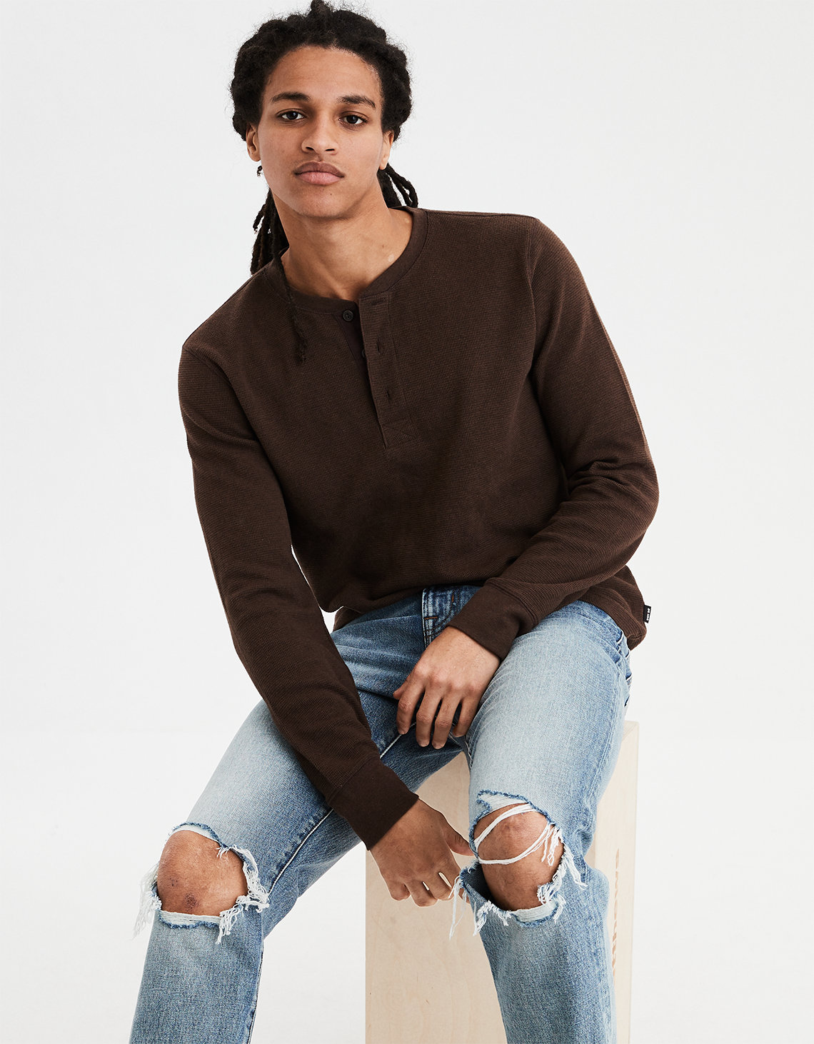 e4d11fce AE Beyond-Soft Henley Thermal, Brown | American Eagle Outfitters