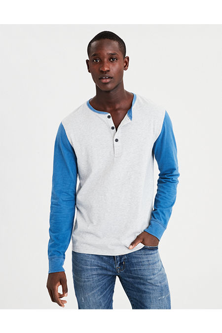 AE Long Sleeve Slub Colorblock Henley