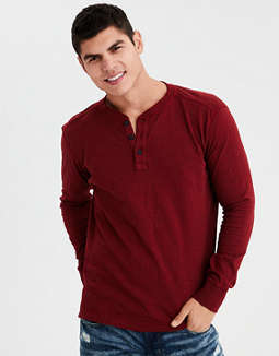Ae Long Sleeve Military Slub Henley by American Eagle Outfitters