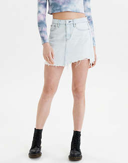 Super High-Waisted Festival Denim Mini Skirt