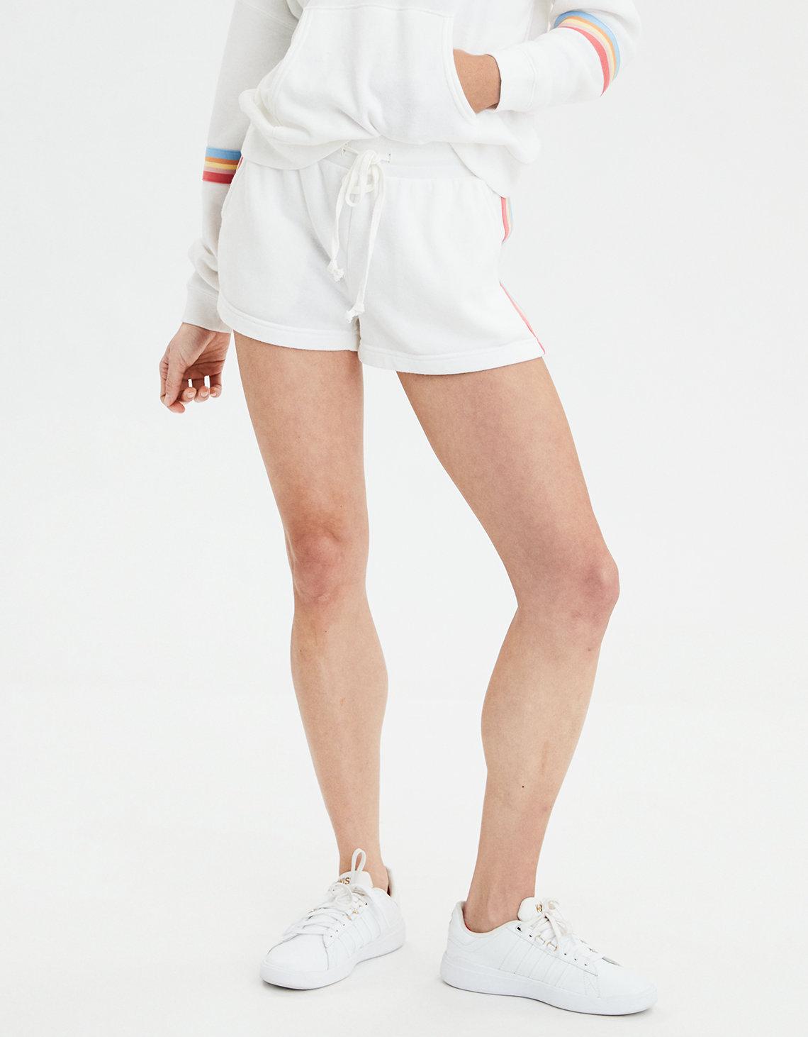 aee90bbe134b AE High-Waisted Rainbow Trim Fleece Short