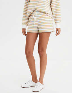 AE High-Waisted Striped Fleece Short