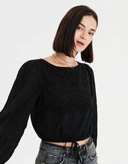 AE Long Sleeve Eyelet Bubble Top