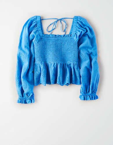 AE Square Neck Smocked Peasant Top