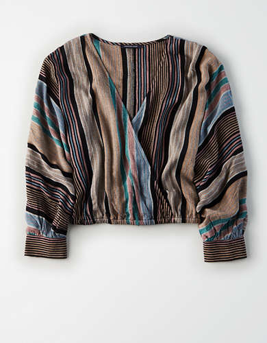 AE Striped Cinched Waist Long Sleeve Shirt