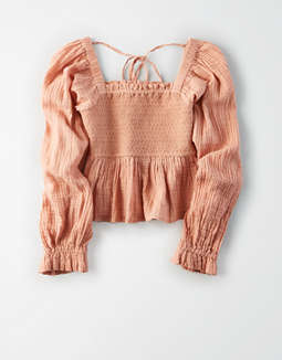 AE Square Neck Smocked Shirt