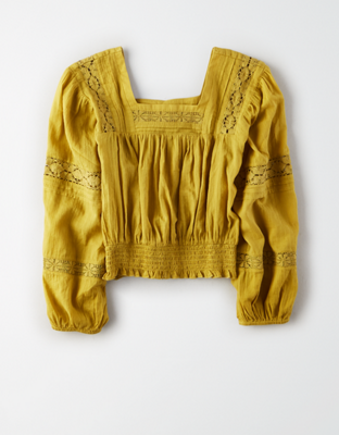AE Lace Smocked Square Neck Top