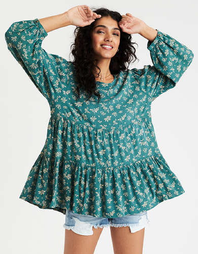 AE Printed Tunic Babydoll Top