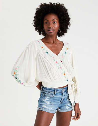AE Embroidered Wrap Top