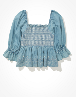 AE Smocked Square Neck Babydoll Top