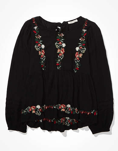 AE Embroidered Babydoll Top