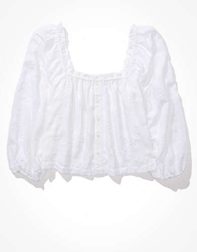 AE Puff Sleeve Button-up Blouse